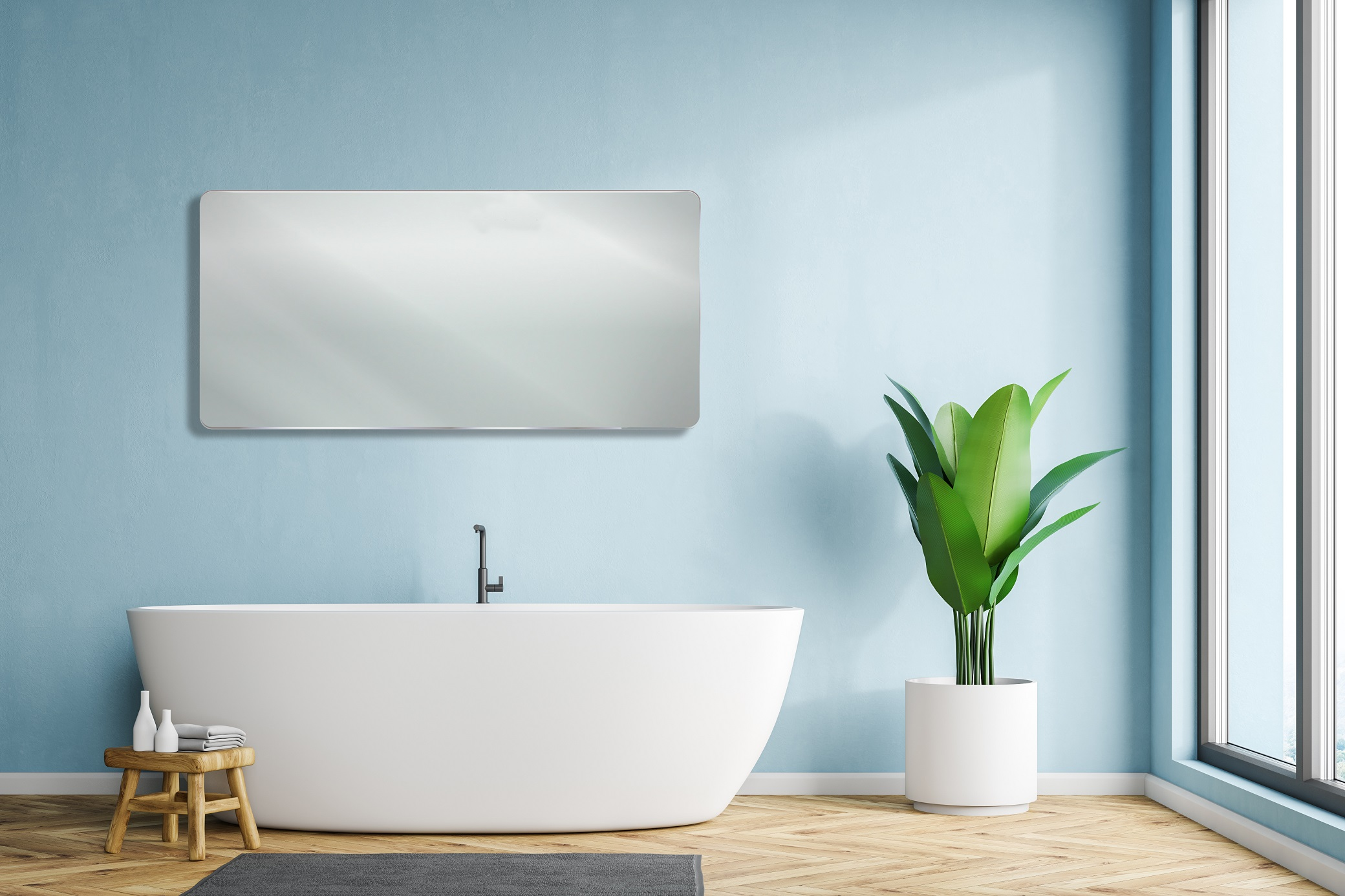 Deva Mirror Blue Bathroom
